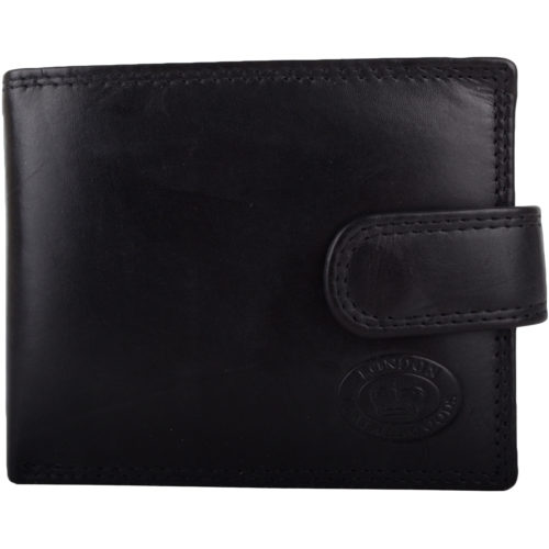 Leather Bi-Fold RFID Protected Wallet - Black