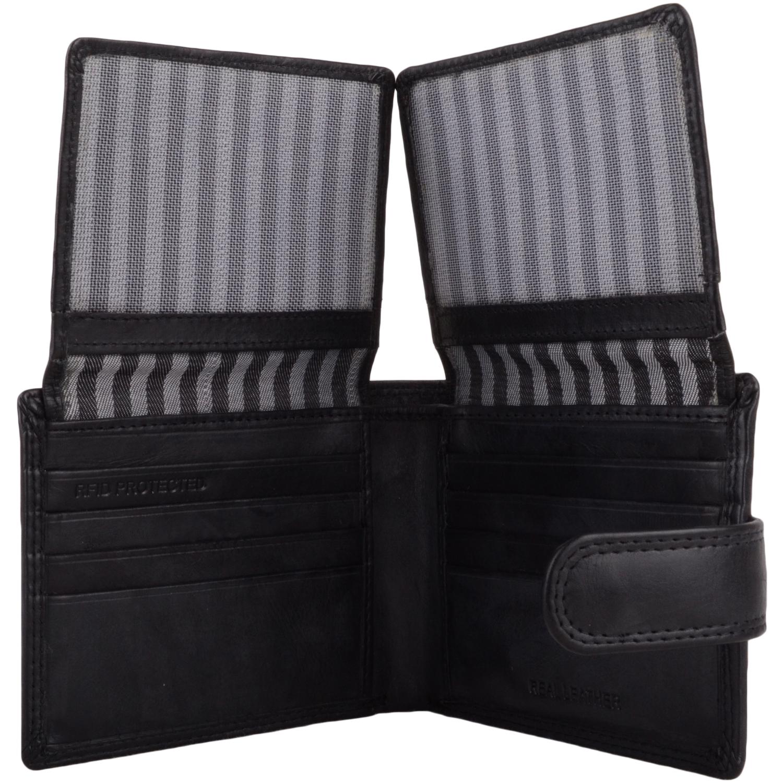 Leather Bi-Fold RFID Protected Wallet - Black