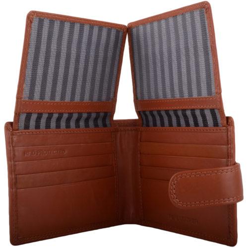Leather Bi-Fold RFID Protected Wallet - Tan