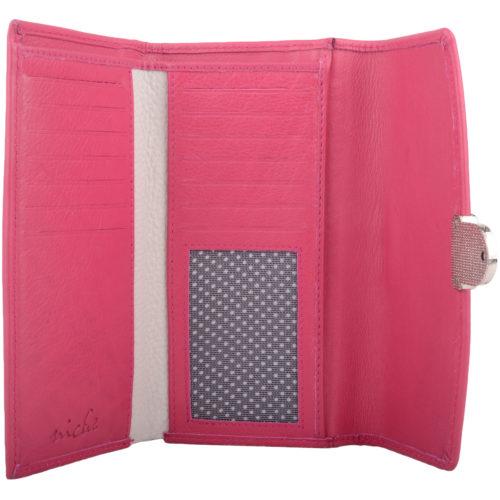 Soft Leather Tri-Fold Purse Push Clip Fastening - Dana