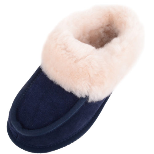 Snugrugs Ladies Sheepskin Slippers - Navy