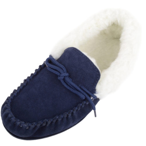 Snugrugs Ladies Wool Cuff Moccasin Slipper - Navy