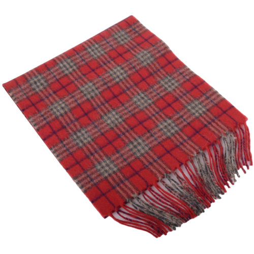 30cm x 185cm Lambswool Scarf - Country Check Ruby