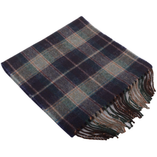 30cm x 185cm Lambswool Scarf - Country Check Midnight