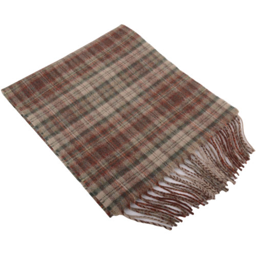 30cm x 185cm Lambswool Scarf - Country Check Olive