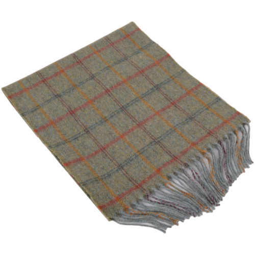 30cm x 185cm Lambswool Scarf - Country Check Sage