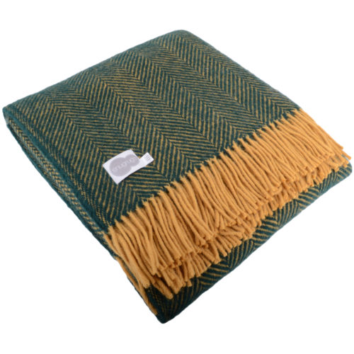 Pure New Wool Herringbone Blanket - Emerald / Mustard
