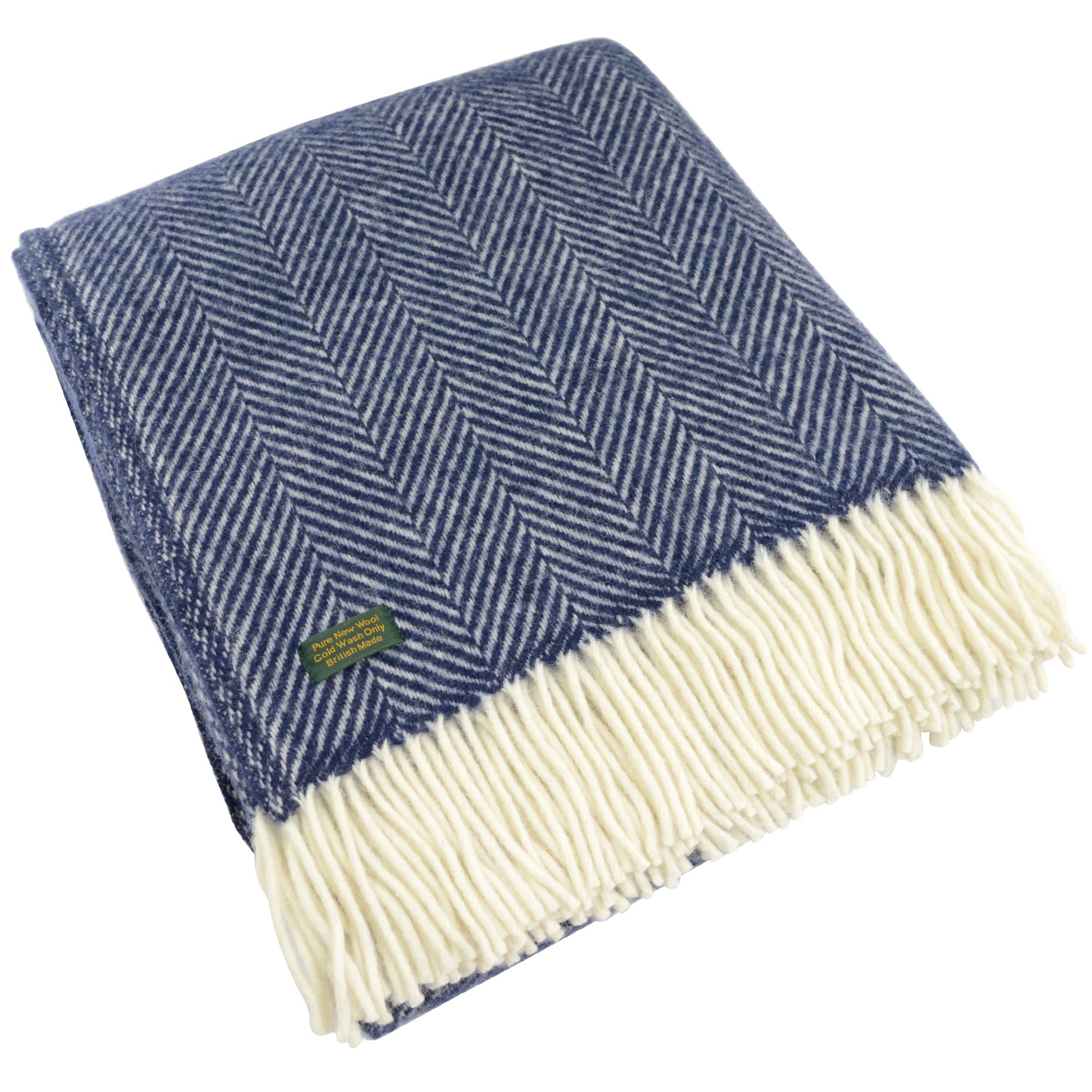 Pure New Wool Fishbone Blanket - Navy