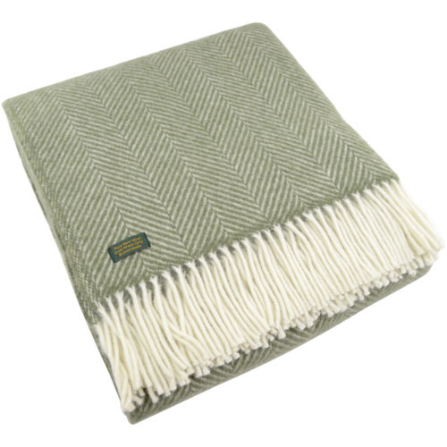 Pure New Wool Fishbone Blanket - Olive Green