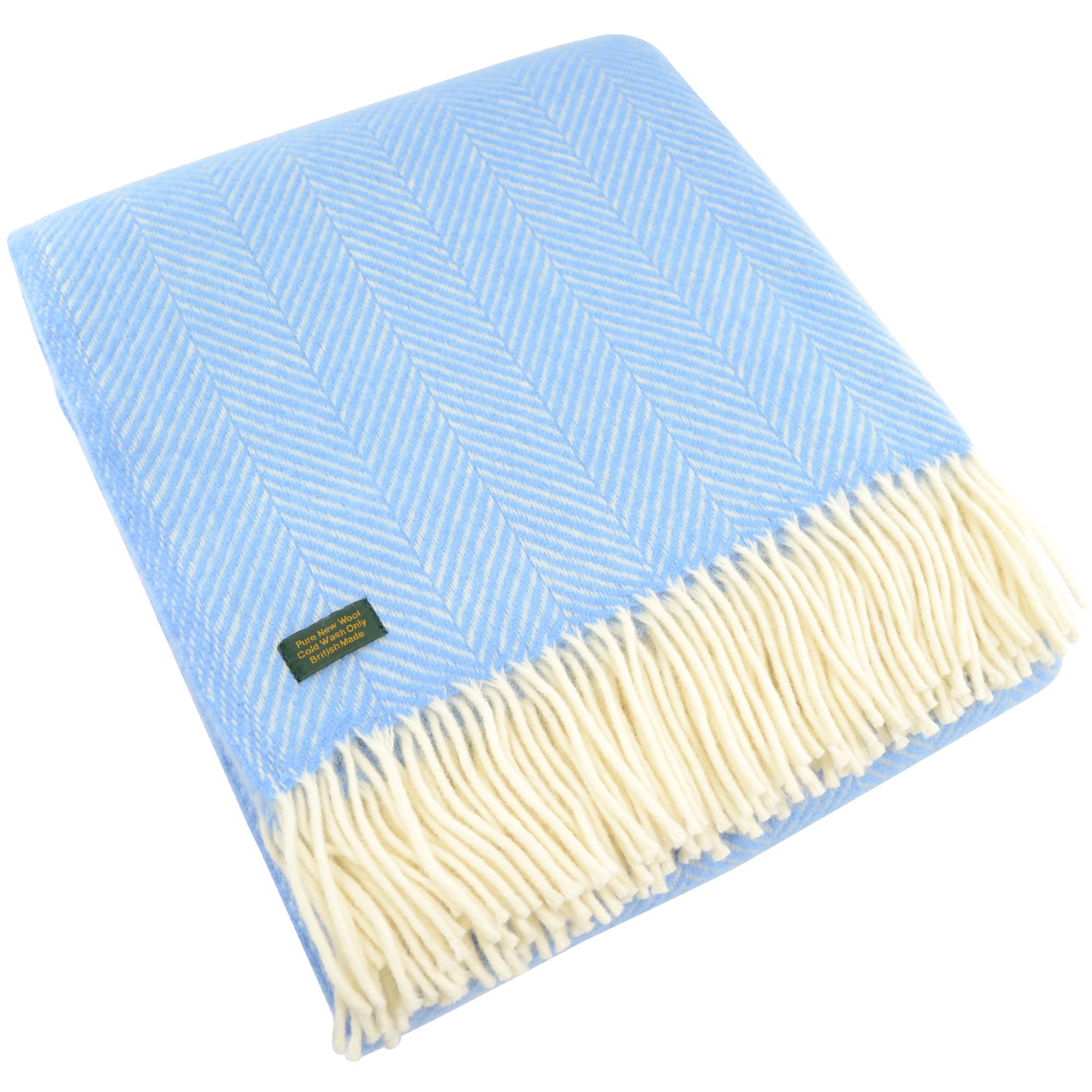 Pure New Wool Fishbone Blanket - Sea Blue