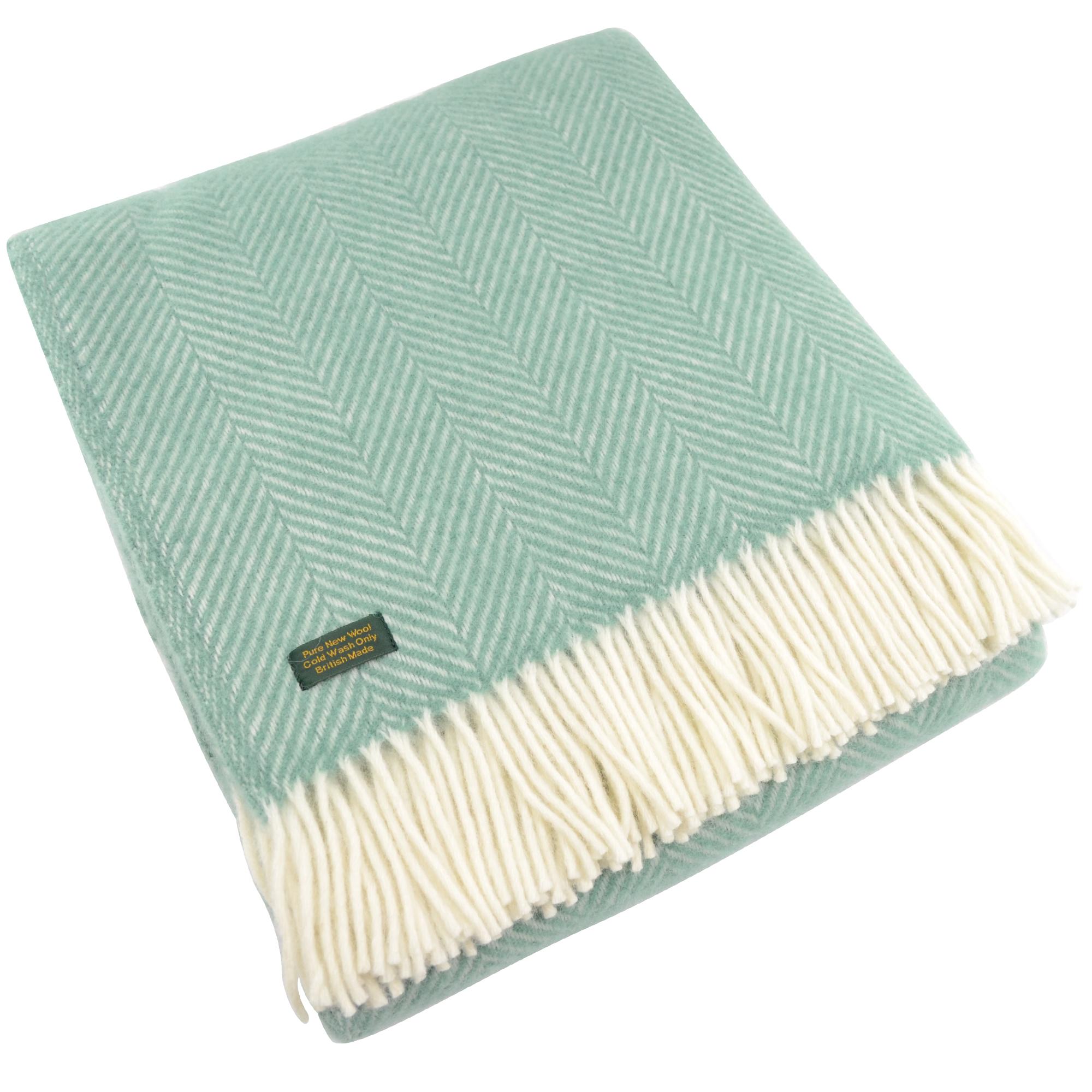 Pure New Wool Fishbone Blanket - Sea Green