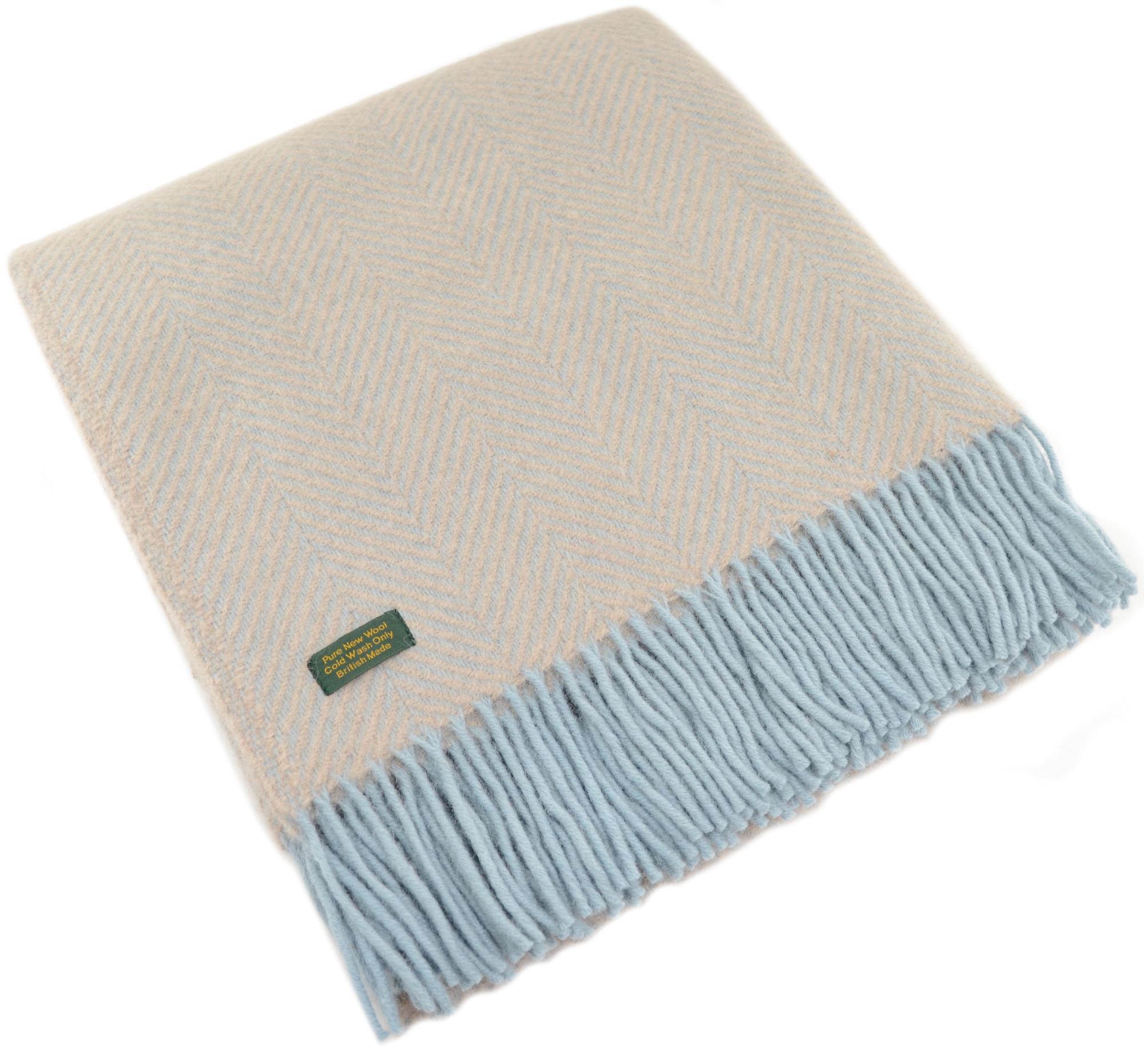 Pure New Wool Herringbone Blanket - Fawn / Duck Egg