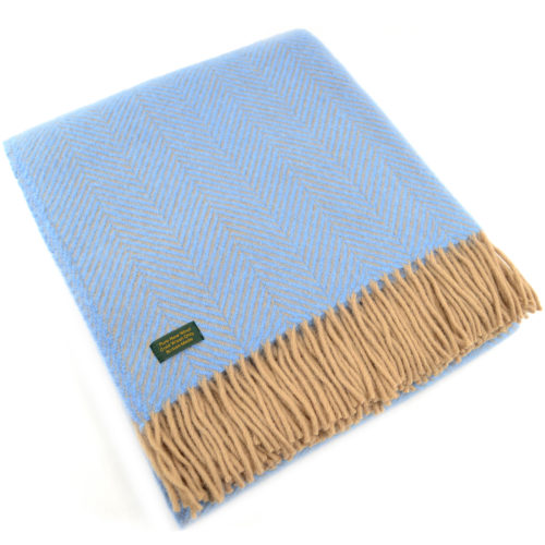 Pure New Wool Herringbone Blanket - Sea Blue / Beige
