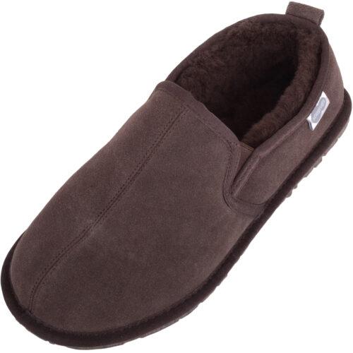 Men's Sheepskin Slippers - Rubber Sole - Jasper - Chocolate