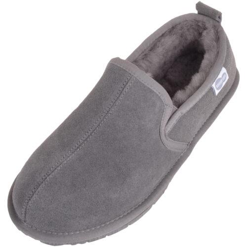 Men's Sheepskin Slippers - Rubber Sole - Jasper - Grey