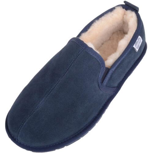 Men's Sheepskin Slippers - Rubber Sole - Jasper - Navy