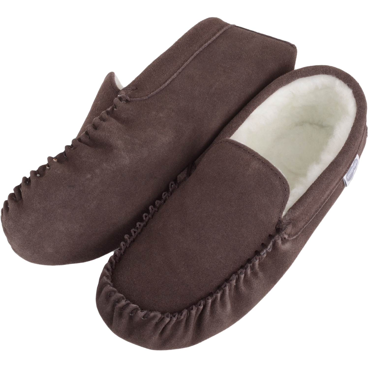Wool Lined Suede Moccasin with Suede Sole - Dark Brown - Ronnie