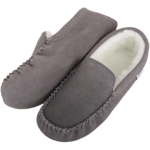 Wool Lined Suede Moccasin with Suede Sole - Grey - Ronnie