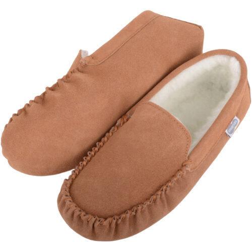 Wool Lined Suede Moccasin with Suede Sole - Ronnie